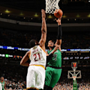 Jared Sullinger #7 of the Boston Celtics shoots the ball against Andrew Bynum #21 of the Cleveland Cavaliers on November 29, 2013 at the TD Garden in Boston, Massachusetts. (Photo by Brian Babineau/NBAE via Getty Images)