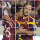 Real Salt Lake midfielder Ned Grabavoy (20) congratulates Sebastian Velasquez (26) on his first half goal, during action between Real Salt Lake vs. San Jose Earthquakes, at Rio Tinto Stadium, Saturday, Oct. 11, 2014 The Associated Press