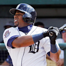 Detroit Tigers' Yoenis Cespedes flies out in the second inning of a spring training exhibition baseball game against the Baltimore Orioles in Lakeland, Fla., Tuesday, March 3, 2015. (AP Photo/Gene J. Puskar)