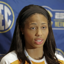 Tennessee's Isabelle Harrison answers a question during a news conference at the Southeastern Conference women's basketball media day in Charlotte, N.C., Tuesday, Oct. 21, 2014. (AP Photo/Chuck Burton)