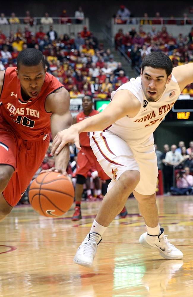 Texas Tech guard Toddrick Gotcher and Iowa State forward Georges Niang chase a loose ball during the second half of an NCAA college basketball game at Hilton Coliseum in Ames, Iowa, Saturday, Feb. 15, 2014. Iowa State won 70-64