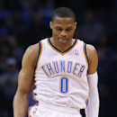 Oklahoma City Thunder guard Russell Westbrook gestures after hitting a t3-point basket in the first quarter of an NBA basketball game against the Charlotte Bobcats in Oklahoma City, Sunday, March 2, 2014 The Associated Press