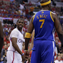Los Angeles Clippers guard Chris Paul looks at Golden State Warriors center Jermaine O'Neal after he was fouled by him during the first half in Game 2 of an opening-round NBA basketball playoff series in Los Angeles, Monday, April 21, 2014 The Associated