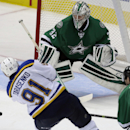 St. Louis Blues right wing Vladimir Tarasenko (91) scores a goal against Dallas Stars goalie Kari Lehtonen (32) during the third period of an NHL hockey game, Tuesday, Oct. 28, 2014, in Dallas. The Blues won 4-3 in overtime The Associated Press