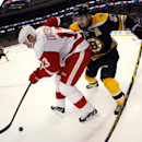 In this photo taken with a fisheye lens, Detroit Red Wings' Pavel Datsyuk (13) tries to keep the puck from Boston Bruins' Patrice Bergeron during the first period of Game 1 of a first-round NHL playoff hockey series in Boston on Friday, April 18, 2014 The