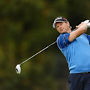 Retief Goosen tees off on the second hole during the final round of the Northern Trust Open at Riviera Country Club. Jake Roth-USA TODAY Sports