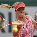 CORRECTING WINNER'S FIRST NAME TO ANA - Ukraine's Elina Svitolina returns the ball during the second round match of the French Open tennis tournament against Serbia's Ana Ivanovic at the Roland Garros stadium, in Paris, France, Thursday, May 29, 2014. (AP Photo/Darko Vojinovic)