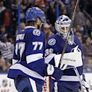 Tampa Bay Lightning goalie Anders Lindback (39), of Sweden, celebrates with defenseman Victor Hedman (77), of Sweden, after an NHL hockey game against the Philadelphia Flyers Wednesday, Nov. 27, 2013, in Tampa, Fla. The Lightning won the game 4-2 The Asso