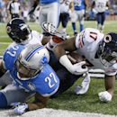 Chicago Bears wide receiver Alshon Jeffery (17) falls into the end zone for a touchdown during the first half of an NFL football game against the Detroit Lions in Detroit, Thursday, Nov. 27, 2014 The Associated Press