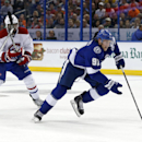 Tampa Bay Lightning's Steven Stamkos breaks away past Montreal Canadiens' Andrei Markov (79), of Russia, and P.K. Subban during the second period of an NHL hockey game Monday, Oct. 13, 2014, in Tampa, Fla The Associated Press