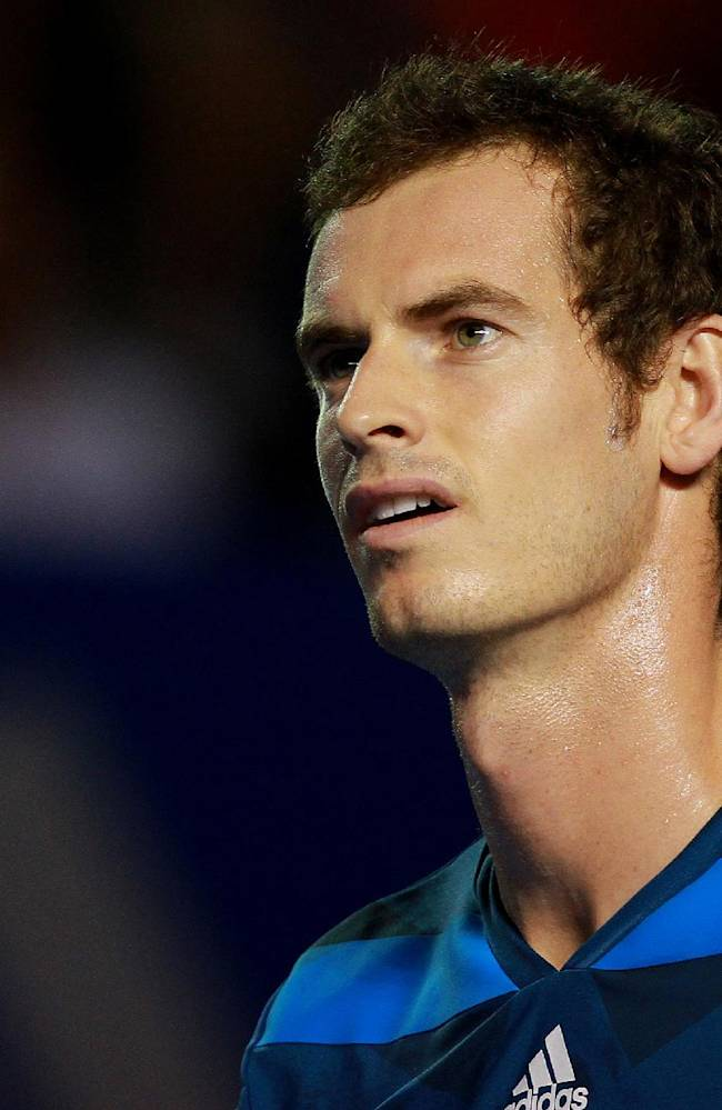 Britain's Andy Murray takes a pause during a Mexican Tennis Open championship match against Portugal's Joao Sousa in Acapulco, Mexico, Wednesday, Feb. 26, 2014. Murray reached the quarterfinals of the Mexican Open with a 6-3 6-4 win over Sousa