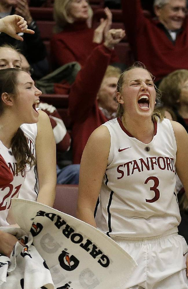 Stanford guard Sara James (21), forward Mikaela Ruef (3) and guard Alex Green (00) celebrate with teammates after Stanford scored against New Mexico during the second half of an NCAA college basketball game in Stanford, Calif., Monday, Dec. 16, 2013. Stanford won 75-41