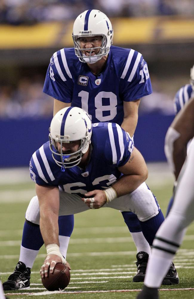 In this Dec. 27, 2009, file photo,  Indianapolis Colts quarterback Peyton Manning (18) gets set behind center Jeff Saturday (63) during the first half of an NFL football game against the New York Jets in Indianapolis. Saturday is torn in choosing sides for Sunday night's showdown between Manning's Broncos and his former team, like other Colts fans, is a struggle