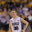 Duke's Jon Scheyer (30) reacts during the first half of a men's NCAA Final Four semifinal college basketball game against West Virginia Saturday, April 3, 2010, in Indianapolis. (AP Photo/Darron Cummings)