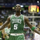 Boston Celtics' Kevin Garnett gestures during an exhibition basketball game against EA7 Emporio Armani, in Milan, Italy, Sunday, Oct. 7, 2012. (AP Photo/Luca Bruno)
