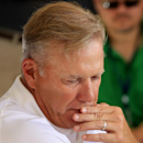 John Elway, Denver Broncos executive vice president of football operation, pauses while talking to the media during a news conference announcing that Broncos owner Pat Bowlen is giving up control of the team because of Alzheimer's disease, Wednesday, July 23, 2014, at the teams headquarters in Englewood, Colo. (AP Photo/Jack Dempsey)