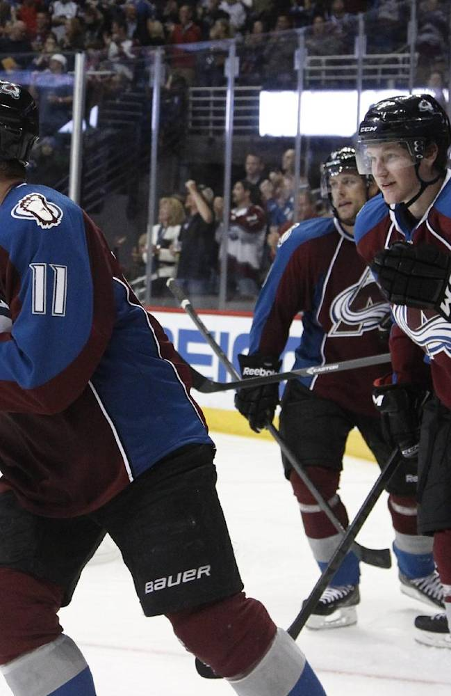 Colorado Avalanche left wing Jamie McGinn, left, celebrates his goal with rookie center Nathan MacKinnon against the Anaheim Ducks in the third period of the Avalanche's 6-1 victory in a hockey game in Denver on Wednesday, Oct. 2, 2013