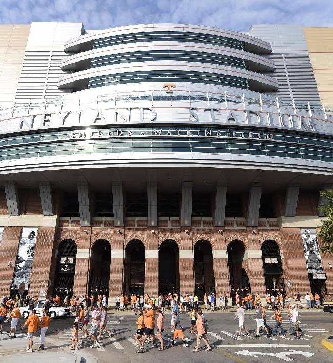 University of Tennessee football fans flock to Neyland Stadium for the football team's open practice in Knoxville, Tenn. on Saturday, Aug. 16, 2014