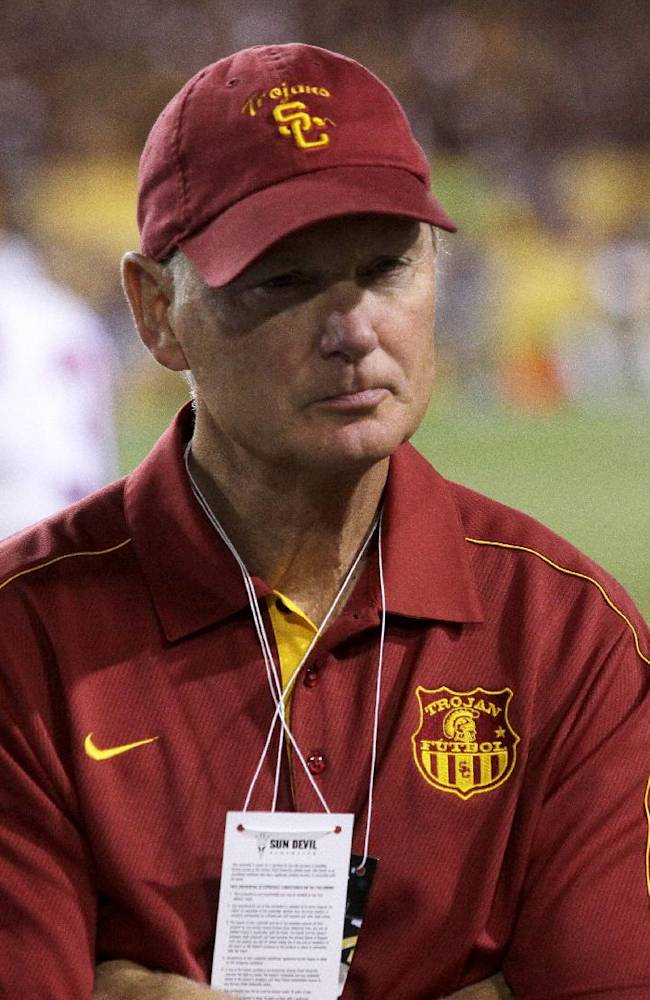 Southern California Athletic Director Pat Haden after losing to Arizona State during an NCAA college football game on Saturday, Sept. 28 2013, in Tempe, Ariz