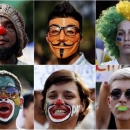 A combination picture shows demonstrators with their faces painted and wearing a Guy Fawkes mask during a protest against the Confederations Cup and President Dilma Rousseff's government, in Recife City June 20, 2013. REUTERS/Marcos Brindicci