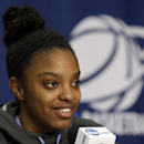 North Carolina guard Diamond DeShields answers questions during a news conference at the NCAA college basketball tournament on Monday, March 31, 2014, in Stanford, Calif. North Carolina plays Stanford in a regional final on Tuesday. (AP Photo/Marcio Jose Sanchez)