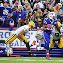 Buffalo Bills' Marcus Thigpen, front right, runs away from Green Bay Packers' Tim Masthay (8) and Jarrett Boykin for a touchdown during a punt return in the first half of an NFL football game Sunday, Dec. 14, 2014, in Orchard Park, N.Y The Associated Pres