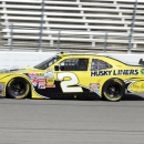 Brian Scott comes out of turn four during practice for the NASCAR Nationwide series O'Reilly auto race at Texas Motor Speedway, Friday April 12, 2013, in Fort Worth, Texas. (AP Photo/Larry Papke)