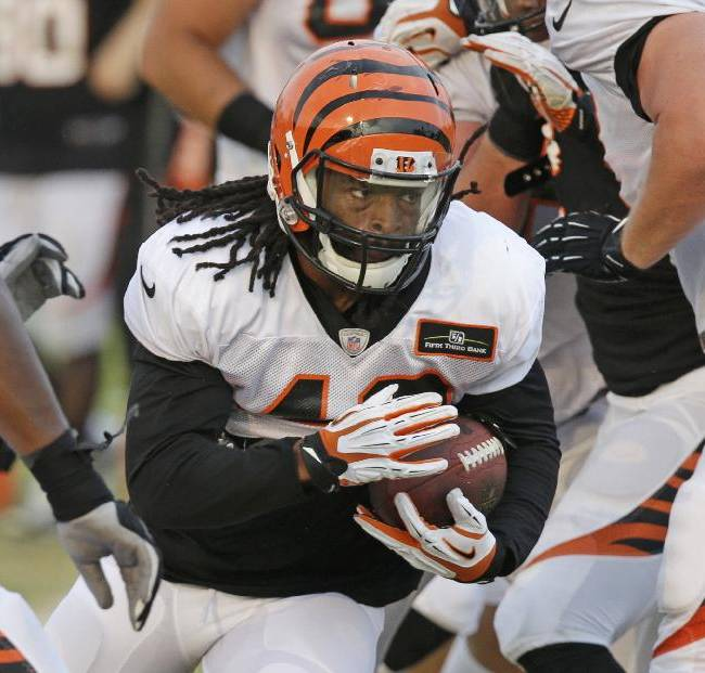 Cincinnati Bengals running back BenJarvus Green-Ellis (42) runs the ball during practice at the NFL football team's training camp, Friday, Aug. 1, 2014, in Cincinnati