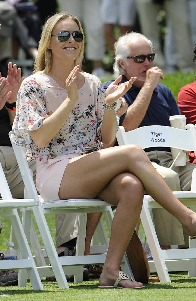 Lindsey Vonn, girlfriend of Tiger Woods, reacts during the opening ceremonies for the Quicken Loans National golf tournament, Wednesday, June 25, 2014, in Bethesda, Md