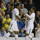 Tottenham's Paulinho, left, celebrates scoring a goal with Aaron Lennon during the second leg Europa League qualifying soccer match between Tottenham Hotspur and AEL Limassol at White Hart Lane stadium in London Thursday, Aug. 28, 2014