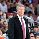 PHILADELPHIA, PA - NOVEMBER 26: Brett Brown of the Philadelphia 76ers stands on the court during a game against the Brooklyn Nets on November 26, 2014 at Wells Fargo Center in Philadelphia, PA. (Photo by Jesse D. Garrabrant/NBAE via Getty Images)