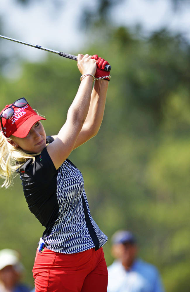 Brooke Pancake drives the ball down the 15th fairway during practice rounds for the U.S. Women's Open at Pinehurst No. 2 on Tuesday, June 17, 2014,  in Fayetteville, NC