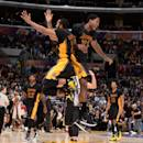 LOS ANGELES, CA - FEBRUARY 27: Wayne Ellington #2 and Ed Davis #21 of the Los Angeles Lakers celebrates during the game against the Milwaukee Bucks on February 27, 2015 at STAPLES Center in Los Angeles, California. (Photo by Andrew Bernstein/NBAE via Getty Images)