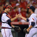 Los Angeles Angels relief pitcher Huston Street, right, is congratulated by catcher Chris Iannetta after the Angels defeated the Oakland Athletics 4-0 in a baseball game, Friday, Aug. 29, 2014, in Anaheim, Calif. (AP Photo/Mark J. Terrill)