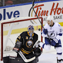 Buffalo Sabres goaltender Matt Hackett (31) makes a save as Tampa Bay Lightning Ryan Callahan (24) eyes the puck during the third period of an NHL hockey game in Buffalo, N.Y., Saturday, March 29, 2014. Tampa Bay won in overtime, 4-3 The Associated Press