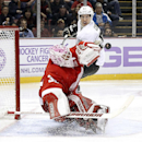 Detroit Red Wings goalie Jimmy Howard (35) stops a Pittsburgh Penguins center Sidney Crosby (87) shot in the third period of an NHL hockey game in Detroit, Thursday, Oct. 23, 2014 The Associated Press
