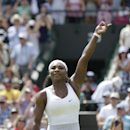 Serena Williams of the United States celebrates winning the women's singles first round match against Margarita Gasparyan of Russia at the All England Lawn Tennis Championships in Wimbledon, London, Monday June 29, 2015. (AP Photo/Pavel Golovkin)