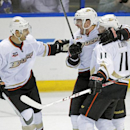 Anaheim Ducks' Mark Fistric (28), center, celebrates with teammates Andrew Cogliano (7) and Saku Koivu (11) after scoring a goal in the third period of an NHL hockey game against the St. Louis Blues, Saturday, Dec. 7, 2013 in St. Louis The Associated Pres
