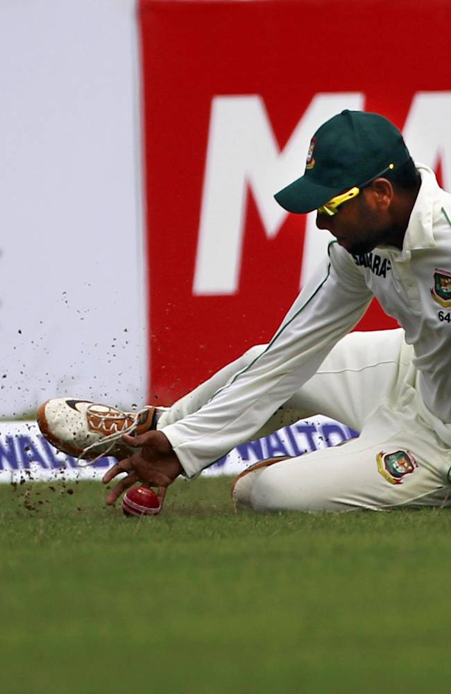 Bangladesh's Sohag Gazi fields the ball during the first day of the first cricket test match against New Zealand in Chittagong, Bangladesh, Wednesday, Oct. 9, 2013
