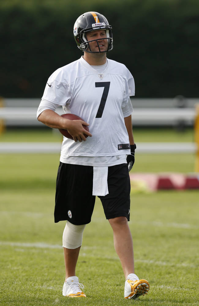Pittsburgh Steelers' quarterback Ben Roethlisberger walks,  during a practice session, at the Wasps rugby training ground, in London, Friday, Sept. 27, 2013. The Pittsburgh Steelers are to play the Minnesota Vikings in the NFL International Series at Wembley Stadium in London on Sunday, Sept 29