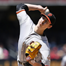 San Francisco Giants starting pitcher Tim Hudson works against the San Diego Padres in the first inning a baseball game Sunday, April 20, 2014, in San Diego The Associated Press