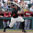 San Francisco Giants' Hunter Pence watches a foul ball during the third inning of a spring training baseball game against the Arizona Diamondbacks on Sunday, March 2, 2014, in Scottsdale, Ariz The Associated Press
