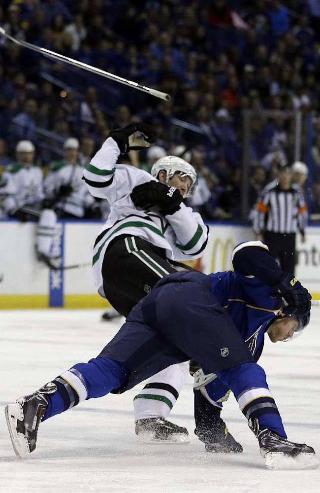 Benn scores OT winner, Stars beat Blues