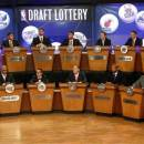 NBA basketball team representatives sit onstage at the start of the NBA draft lottery, Tuesday, May 21, 2013 in New York. (AP Photo/Jason DeCrow)