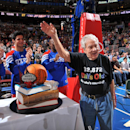PHILADELPHIA, PA - MARCH 9: Harvey Pollack, Director of statistical information for the Philadelphia 76ers is acknowledged on his 90th Birthday during a break in the action against the Utah Jazz on March 9, 2012 at the Wells Fargo Center in Philadelphia, Pennsylvania. (Photo by Jesse D. Garrabrant/NBAE via Getty Images)