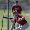 St. Louis Cardinals' Mark Ellis works on bunting during spring training baseball practice Tuesday, Feb. 18, 2014, in Jupiter, Fla The Associated Press
