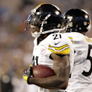Pittsburgh Steelers' Robert Golden (21) reacts after recovering a muffed punt in the end zone for a touchdown against the Carolina Panthers during the second half of an NFL football game in Charlotte, N.C., Sunday, Sept. 21, 2014 The Associated Press