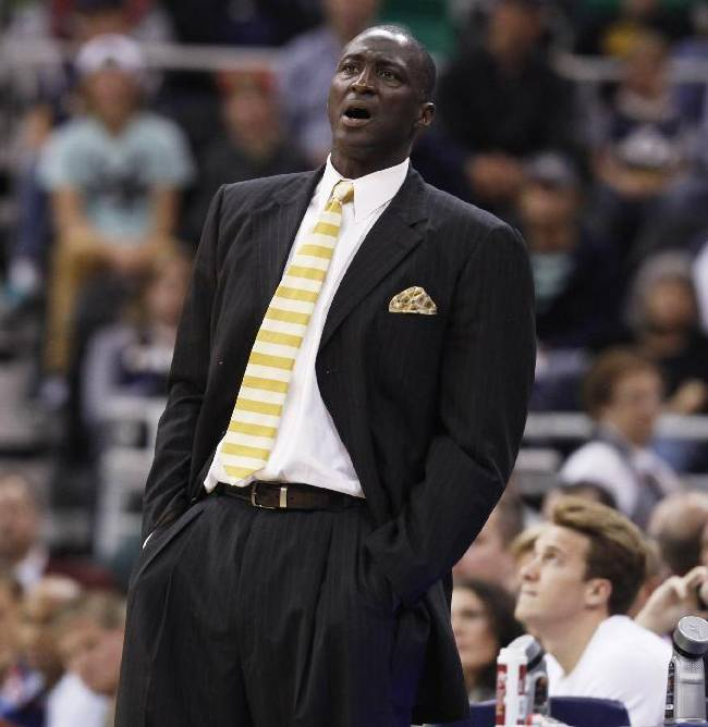 Utah Jazz's head coach Tyrone Corbin yells to a player in the second half during an NBA preseason basketball game against the Los Angeles Clippers Saturday, Oct. 12, 2013, in Salt Lake City.   The Clippers won 106-74