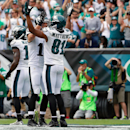 Philadelphia Eagles' Jordan Matthews (81) celebrates with Riley Cooper (14) after scoring a touchdown during the first half of an NFL football game against the Washington Redskins, Sunday, Sept. 21, 2014, in Philadelphia The Associated Press