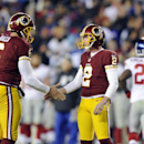 Washington Redskins holder Sav Rocca (6) celebrates with kicker Kai Forbath (2) after Forbath's field goal during the second half of an NFL football game against the New York Giants, Sunday, Dec. 1, 2013, in Landover, Md The Associated Press